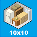 the size and contents held by a storage unit 10 x 10