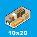 the size and the amount of material held by a storage unit 10 x 20